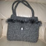 Lily Bag - This grey and black vintage style purse has fun fur attached for added flair